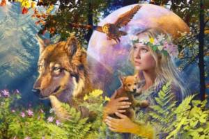 woman in forest W deer & animals Photo